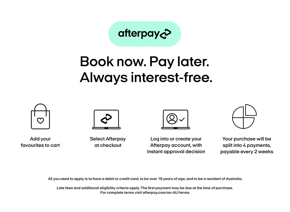 Bok now. Pay later. Always Interest-free.